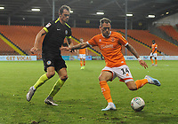 Blackpool's Harry Pritchard under pressure from Macclesfield Town's Theo Archibald<br /> <br /> Photographer Kevin Barnes/CameraSport<br /> <br /> The Carabao Cup First Round - Blackpool v Macclesfield Town - Tuesday 13th August 2019 - Bloomfield Road - Blackpool<br />  <br /> World Copyright © 2019 CameraSport. All rights reserved. 43 Linden Ave. Countesthorpe. Leicester. England. LE8 5PG - Tel: +44 (0) 116 277 4147 - admin@camerasport.com - www.camerasport.com