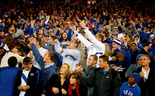 UK fans cheer after the Wildcats defeated the  University of Georgia Bulldogs 34-72 on Saturday, Nov. 21, 2009 at Sanford Stadium in Athens, Ga.