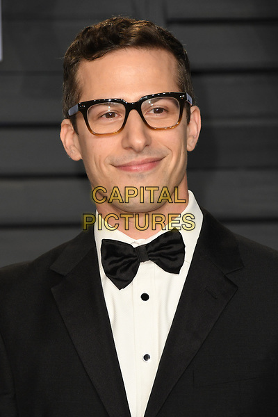 04 March 2018 - Los Angeles, California - Andy Samberg. 2018 Vanity Fair Oscar Party following the 90th Academy Awards held at the Wallis Annenberg Center for the Performing Arts. <br /> CAP/ADM/BT<br /> &copy;BT/ADM/Capital Pictures