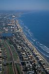 Aerial over the Carlsbad Beach area,+Northern San Diego Region Coastline San Diego County, CALIFORNIA