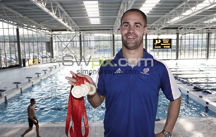 PICTURE by Paul Hollands/SWPIX.COM - Swimming portraits, Paralympics Beijing 08....29/09/08..Copyright - Simon Wilkinson - 07811267706 ..Dave Roberts with his four gold medals