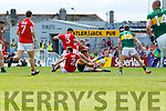 Kevin McCarthy Kerry  in action against  Cork in the Munster Senior Football Final at Fitzgerald Stadium on Sunday.