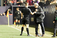 Referees during the Spanish football of La Liga 123, match between CA Osasuna and AD Alcorcón at the Sadar stadium, in Pamplona (Navarra), Spain, on Sunday, January 6, 2019.