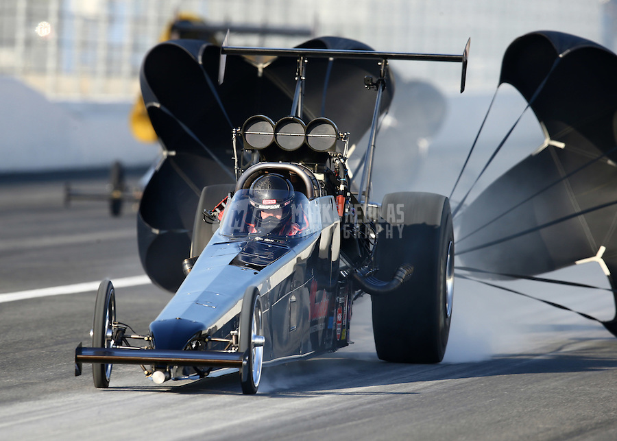 Feb 13, 2016; Pomona, CA, USA; NHRA top alcohol dragster driver Shawn Cowie during qualifying for the Winternationals at Auto Club Raceway at Pomona. Mandatory Credit: Mark J. Rebilas-USA TODAY Sports