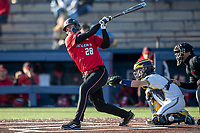 Rutgers Scarlet Knights catcher Tyler McNamara (28) follows through on his swing against the Michigan Wolverines on April 26, 2019 in the NCAA baseball game at Ray Fisher Stadium in Ann Arbor, Michigan. Michigan defeated Rutgers 8-3. (Andrew Woolley/Four Seam Images)