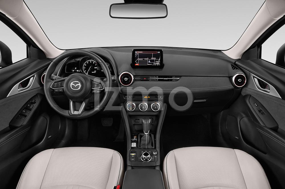 Stock photo of straight dashboard view of 2019 Mazda CX-3 Skycruise 5 Door SUV Dashboard