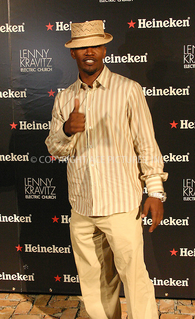 WWW.ACEPIXS.COM . . . . . ....MIAMI, APRIL 13, 2005....Jamie Foxx at the Heineken Green Party Kickoff hosted by Lenny Kravitz.....Please byline: LAURA LITTLE - ACE PICTURES.. . . . . . ..Ace Pictures, Inc:  ..Craig Ashby (212) 243-8787..e-mail: picturedesk@acepixs.com..web: http://www.acepixs.com