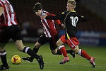 Sheefield United's George Cantrill and Crewe's Luke Walley in action during the FA Youth Cup First Round match at Bramall Lane Stadium, Sheffield. Picture date: November 1st 2016. Pic Richard Sellers/Sportimage