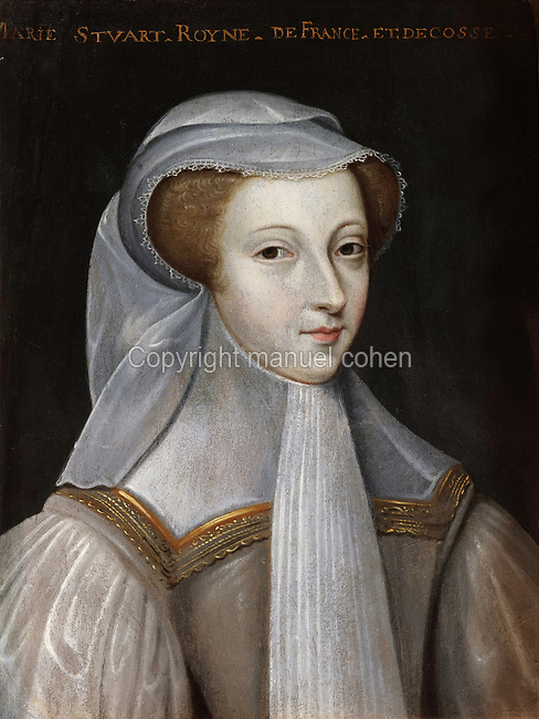 Portrait of Mary Queen of Scots or Mary Stuart, Queen of Scotland and France, 1542-87, in mourning clothes, oil painting on wood, early 17th century, after Francois Clouet, 1515-72, in the Garde-robe de la Reine, or Queen's Dressing Room, in the Francois I wing, built early 16th century in Italian Renaissance style and restored by Felix Duban 1861-66, at the Chateau Royal de Blois, built 13th - 17th century in Blois in the Loire Valley, Loir-et-Cher, Centre, France. The chateau has 564 rooms and 75 staircases and is listed as a historic monument and UNESCO World Heritage Site. Picture by Manuel Cohen