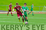 Michael O'Gara of the Kerry U17 squad squares off against Dylan Walls of Cobh Ramblers during a clash at Mounthawk Park on Sunday