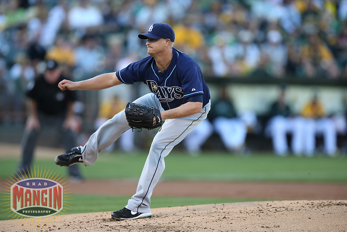 OAKLAND, CA - AUGUST 31:  Alex Cobb #53 of the Tampa Bay Rays pitches against the Oakland Athletics during the game at O.co Coliseum on Saturday, August 31, 2013 in Oakland, California. Photo by Brad Mangin
