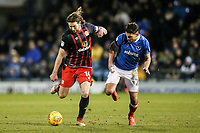 Blackburn Rovers' Charlie Mulgrew competing with Portsmouth's Gareth Evans <br /> <br /> Photographer Andrew Kearns/CameraSport<br /> <br /> The EFL Sky Bet League One - Portsmouth v Blackburn Rovers - Tuesday 13th February 2018 - Fratton Park - Portsmouth<br /> <br /> World Copyright &copy; 2018 CameraSport. All rights reserved. 43 Linden Ave. Countesthorpe. Leicester. England. LE8 5PG - Tel: +44 (0) 116 277 4147 - admin@camerasport.com - www.camerasport.com