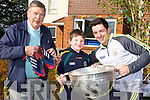 Aidan O'Mahony who presented his football boots to an anonymous kid in the crowd who captured his heart with his smile after the All Ireland final met up with  Diarmuid de Bhillis and his dad Dick at Home from Home Fossa on Thursday where he brought the Sam Maguire