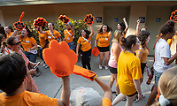 The O-Team cheers for parents and students at the Welcome to Oxy event at the Remsen Bird Hillside Theater (Greek Bowl) as part of the official Orientation welcome. Incoming first-years and their families are welcomed by enthusiastic O-Team members and other members of the community during Occidental College's Fall move-in and orientation for the class of 2023, Aug. 22, 2019.<br /> (Photo by Marc Campos, Occidental College Photographer)