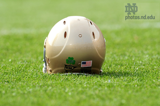 """DS"" Sticker on the ND Football helmet in honor of Declan Sullivan...Photo by Matt Cashore/University of Notre Dame"
