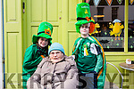 Mary & Sean O'Donnell with their Gran Bridie O'Connor at the Cahersiveen St Patricks Day Parade.