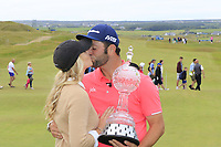 Jon Rahm (ESP) and wife Kelley Cahill after he wins the tournament by 2 shots at the end of Sunday's Final Round of the Dubai Duty Free Irish Open 2019, held at Lahinch Golf Club, Lahinch, Ireland. 7th July 2019.<br /> Picture: Eoin Clarke | Golffile<br /> <br /> <br /> All photos usage must carry mandatory copyright credit (© Golffile | Eoin Clarke)