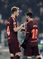Football Soccer: UEFA Champions League Juventus vs FC Barcelona Allianz Stadium. Turin, Italy, November 22, 2017. <br /> FC Barcelona's Lionel Messi (r) greets FC Barcelona's  Ivan Rakitic (l) at the end of the Uefa Champions League football soccer match between Juventus and FC Barcelona at Allianz Stadium in Turin, November 22, 2017.<br /> Juventus and Barcelona drawn 0-0. <br /> UPDATE IMAGES PRESS/Isabella Bonotto