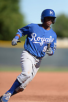 Kansas City Royals shortstop Luis Valenzuela (9) during an instructional league game against the Seattle Mariners on October 2, 2013 at Surprise Stadium Training Complex in Surprise, Arizona.  (Mike Janes/Four Seam Images)