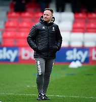 Lincoln City's first team development coach Richard O'Donnell during the pre-match warm-up<br /> <br /> Photographer Andrew Vaughan/CameraSport<br /> <br /> The EFL Sky Bet League One - Accrington Stanley v Lincoln City - Saturday 15th February 2020 - Crown Ground - Accrington<br /> <br /> World Copyright © 2020 CameraSport. All rights reserved. 43 Linden Ave. Countesthorpe. Leicester. England. LE8 5PG - Tel: +44 (0) 116 277 4147 - admin@camerasport.com - www.camerasport.com