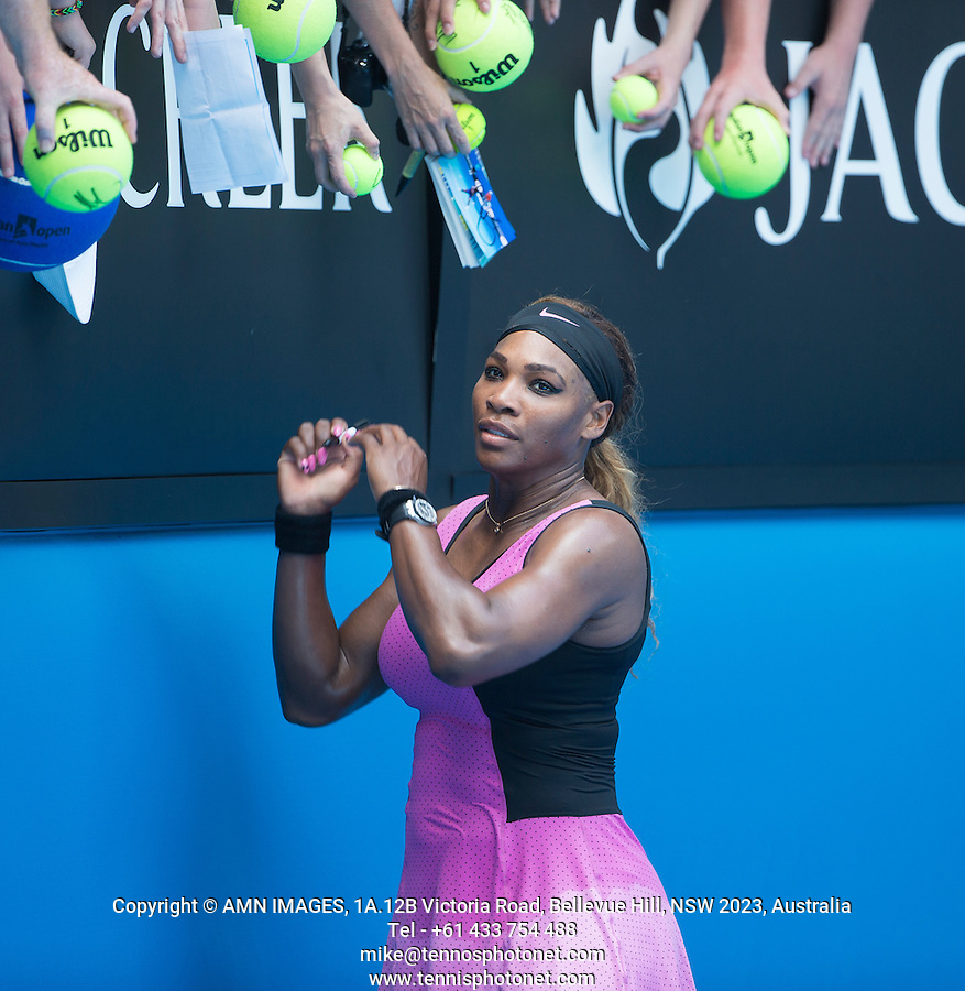 SERENA WILLIAMS (USA)<br /> <br /> Tennis - Australian Open - Grand Slam -  Melbourne Park -  2014 -  Melbourne - Australia  - 15th January 2013. <br /> <br /> &copy; AMN IMAGES, 1A.12B Victoria Road, Bellevue Hill, NSW 2023, Australia<br /> Tel - +61 433 754 488<br /> <br /> mike@tennisphotonet.com<br /> www.amnimages.com<br /> <br /> International Tennis Photo Agency - AMN Images