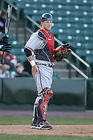 April 15th 2008:  Catcher Clint Sammons (5) of the Richmond Braves, Class-AAA affiliate of the Atlanta Braves, during a game at Frontier Field in Rochester, NY.  Photo by:  Mike Janes/Four Seam Images