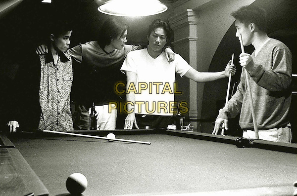 BETTER LUCK TOMORROW.Pool Table' from left to right .Virgil (Jason Tobin), Daric (Roger Fan), Han (Sung Kang) and Ben (Parry Shen).Filmstill - Editorial Use Only.Ref: FB.sales@capitalpictures.com.www.capitalpictures.com.Supplied by Capital Pictures.