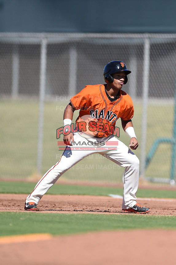 San Francisco Giants outfielder Randy Ortiz (34) during an Instructional League game against the Oakland Athletics on October 13, 2014 at Giants Baseball Complex in Scottsdale, Arizona.  (Mike Janes/Four Seam Images)