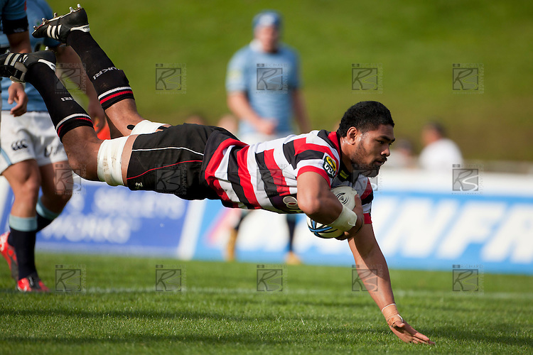 Fritz Lee dives over to score. ITM Cup rugby game between Counties Manukau Steelers and Northland, played at Bayer Growers Stadium, Pukekohe, on Sunday September 26th 2010..The Counties Manukau Steelers won 40 - 24 after leading 27 - 7 at halftime.
