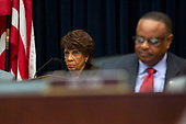 United States Representative Maxine Waters (Democrat of California) listens to Chair of the Federal Reserve Jerome Powell testify before the House Financial Services Committee on Capitol Hill in Washington D.C., U.S. on July 10, 2019.<br /> <br /> Credit: Stefani Reynolds / CNP