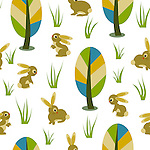 Seamless repeatable pattern tile vector with cute bunnies and colorful forest trees. Ideal for surface prints.<br /> <br /> Available also as latest EPS format (Scalable to infinite size) and PNG format.<br /> <br /> WANT TO SEE HOW THIS WILL  LOOK WHEN ARRANGED AS A PATTERN?<br /> <br /> You can find the image of whole pattern put together in this gallery only.<br /> <br /> Tip: It should be the image next to this one, or, just search &quot;seamless+bunnies+meadow&quot;!