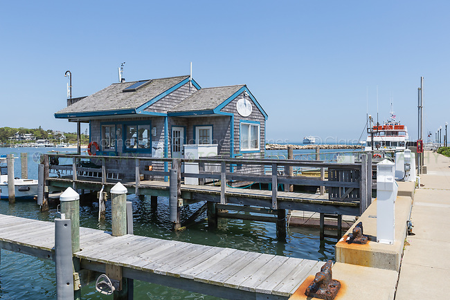 The harbormaster's building on the marina in Oak Bluffs Harbor in Oak Bluffs, Massachusetts on Martha's Vineyard.