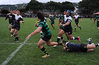 Action from the Wellington Hardham Cup premier 2 club rugby final between Petone and Wainuiomata at Petone Rec in Petone, New Zealand on Saturday, 4 August 2018. Photo: Dave Lintott / lintottphoto.co.nz