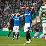 Alfredo Morelos reacts after he has his header saved by Craig Gordon