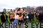 William Kirby and Wayne Guthrie Austin Stacks players celebrate winning the Kerry Senior County Football Final at Fitzgerald Stadium on Sunday.