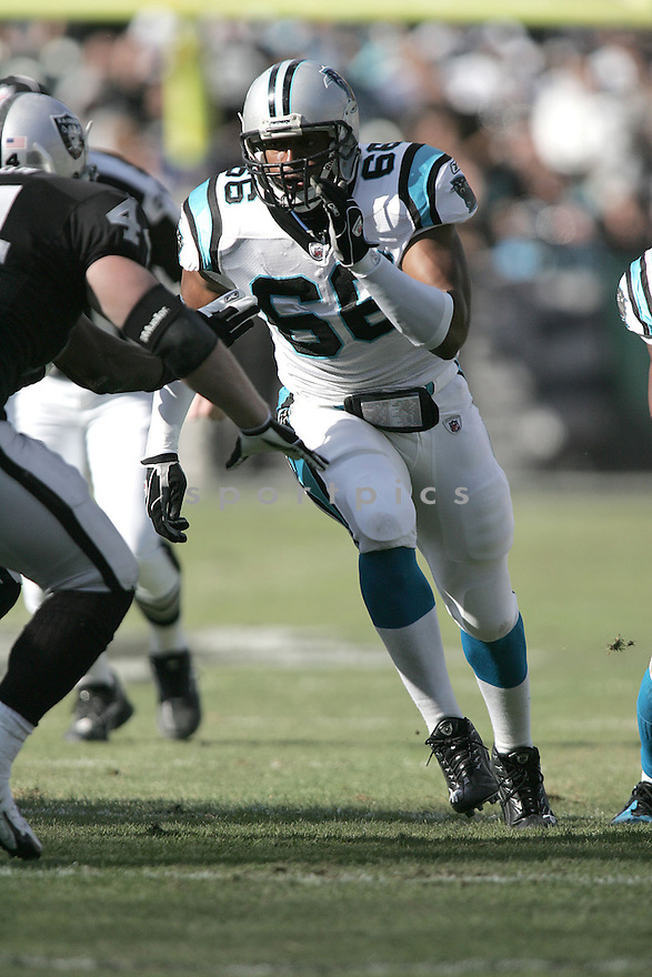 HILEE TAYLOR, of the Carolina Panthers in action against the Oakland Raiders during the Panthers game  in Oakland, California  on November 9, 2008..Panthers win 17-6