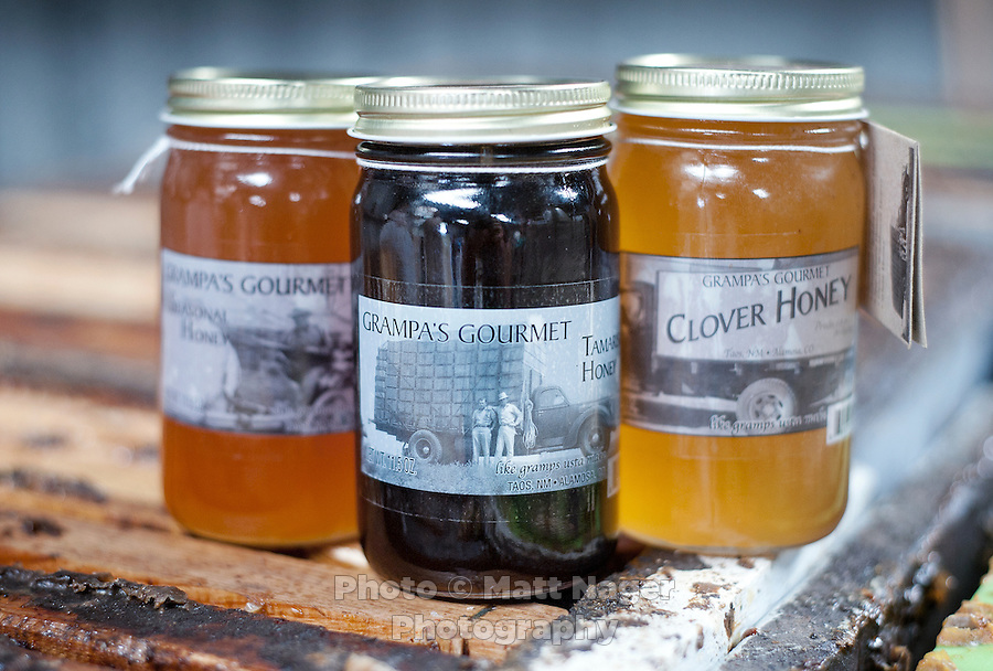 Grampa's Gourmet Clover Honey made by bee keeper Brent Edelen (cq) in Alamosa, Colorado, June 1, 2012. Bee keeping has been in Edelen's family for over six generations, originating in Switzerland...Photo by MATT NAGER