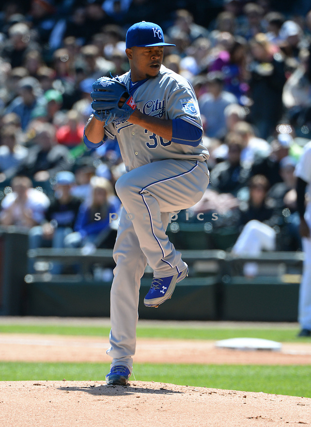 Kansas City Royals Edinson Volquez (36) during a game against the Chicago White Sox on April 26, 2015 at US Cellular Field in Chicago, IL. The White Sox beat the Royals 5-3.