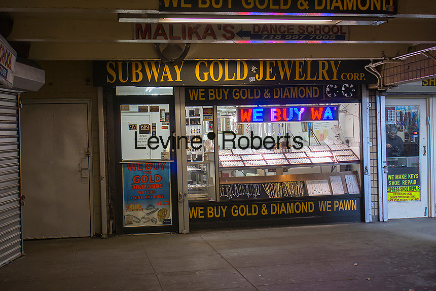 A jewelry store occupies a retail space in the 63rd Drive station in the subway in the Rego Park neighborhood of Queens in New York on Thursday, March 21, 2013. (© Richard B. Levine)