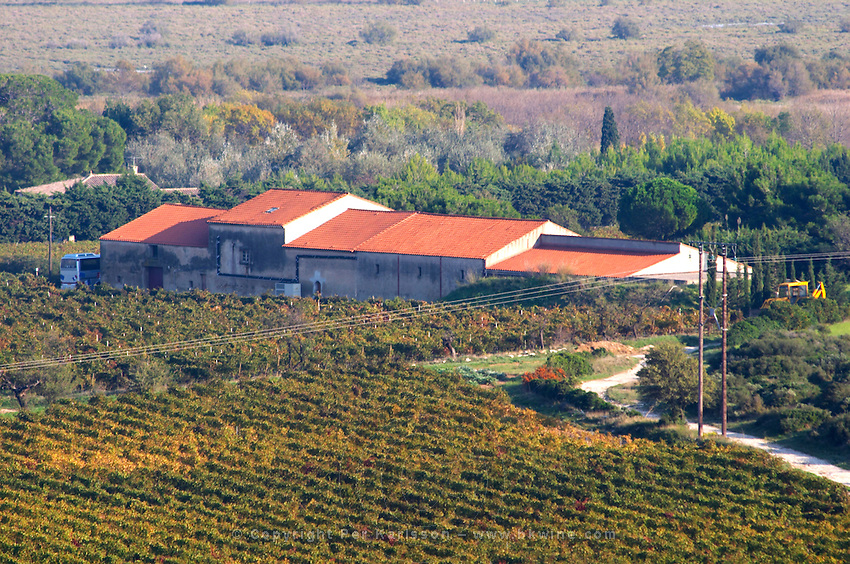 Chateau Mire l'Etang. La Clape. Languedoc. France. Europe. Vineyard. The winery building.