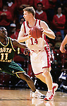 University of Wisconsin guard (14) Ricky Bower during the South Florida game at the Kohl Center in Madison, WI, on 12/30/00. Wisconsin beat South Florida in overtime, 63-61. (Photo by David Stluka)
