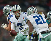 09.11.2014.  London, England.  NFL International Series. Jacksonville Jaguars versus Dallas Cowboys.  Dallas Cowboys' Quarterback Brandon Weeden (#3) passes to Dallas Cowboys' Running Back Joseph Randle (#21)