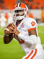 January 3, 2014 - Miami Gardens, Florida, U.S: Clemson Tigers quarterback Tajh Boyd (10) warms up before the Discover Orange Bowl game between the Clemson Tigers and the Ohio State Buckeyes at Sun Life Stadium in Miami Gardens, Fl