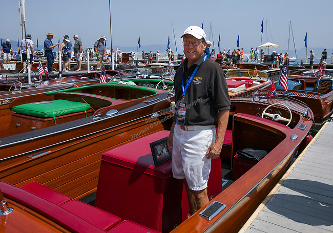 Bob Swenson and his boat Tucker during the Concours d'Elegance Wood Boat Show at Lake Tahoe on Friday, August 10, 2018.