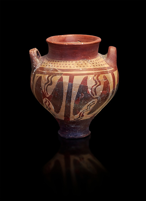 Small Mycenaean amphora decorated with double headed axes, Grave VI, Grave Circle A, Mycenae 16-15 Cent BC. National Archaeological Museum Athens. Cat No 196.  Black Background