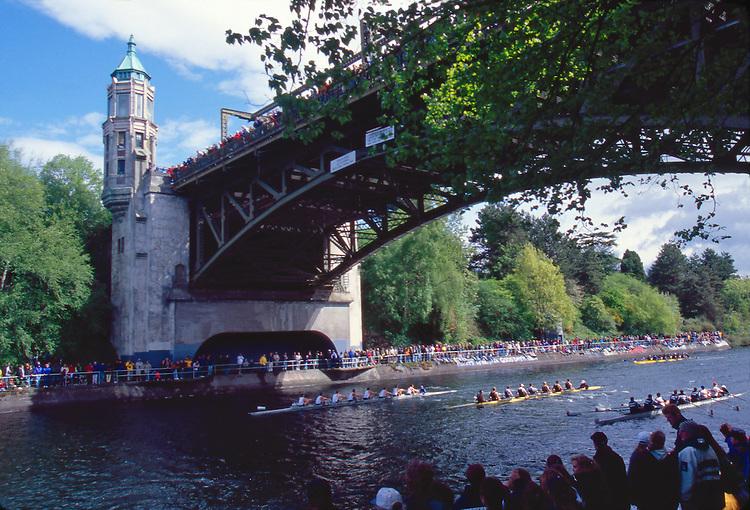 Rowing, Seattle, Windermere Cup Regatta, University of Washington mens eight leads beneath the Montlake Bridge, Lake Washington Ship Canal, Opening day of the competitive rowing season,..