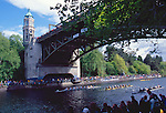 Rowing, Seattle, Windermere Cup Regatta, University of Washington mens eight leads beneath the Montlake Bridge, Lake Washington Ship Canal, Opening day of the competitive rowing season,..