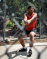 Kyle Abundo '22, hammer throw<br /> The Occidental College men's and women's track and field teams compete in the 2019 Southern California Intercollegiate Athletic Conference (SCIAC) Track and Field Championships at the Claremont-Mudd-Scripps Burns Track Complex in Claremont, Calif. on Saturday, April 27, 2019.<br /> After the two-day SCIAC Championships CMS scored 211.50 points, followed by Pomona-Pitzer (171.50), Redlands (114), Occidental (92.50), Whittier (57.50), La Verne (54), Cal Lutheran (48), Chapman (23) and Caltech (4). <br /> <br /> (Photo by Eddie Ruvalcaba, Image of Sport)
