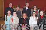 Confirmation Day for the pupils of Cloghers National School on Thursday. Pictured Orla Keane, Anna Prenderville, Bishop Bill Murphy, Emer Lynch, Stephen Downey, Jack Clifford, Patrick O'Connor and Principal Tom O'Connor.   Copyright Kerry's Eye 2008