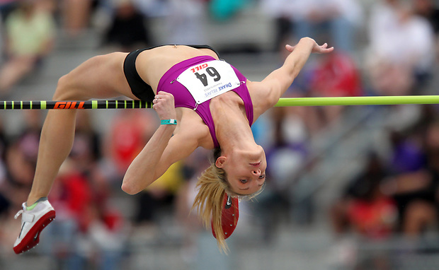 Nike's Deirdre Mullen competes in the women's high jump special at the Drake Relays on April 24, 2010 at Drake Stadium in Des Moines, Iowa.